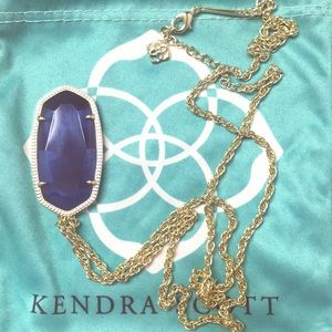 Kendra Scott Rae in Gold and Navy Cat's Eye w/Bag